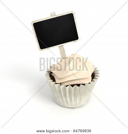 Happy Birthday Cupcake With Chalkboard Signboard Label On Whiteboard