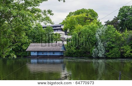 Boathouse In Spring Season In Herastrau Lake