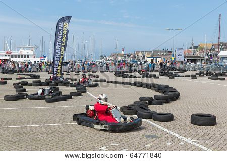 Kart Racing  At A National Holiday At The Harbor Of Urk, The Netherlands