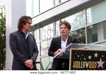 LOS ANGELES - MAY 9:  Rick Springfield, Richard Marx at the Rick Springfield Hollywood Walk of Fame Star Ceremony at Hollywood Blvd on May 9, 2014 in Los Angeles, CA