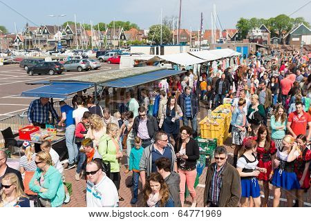 People Visiting A Fare At A National Dutch Holiday
