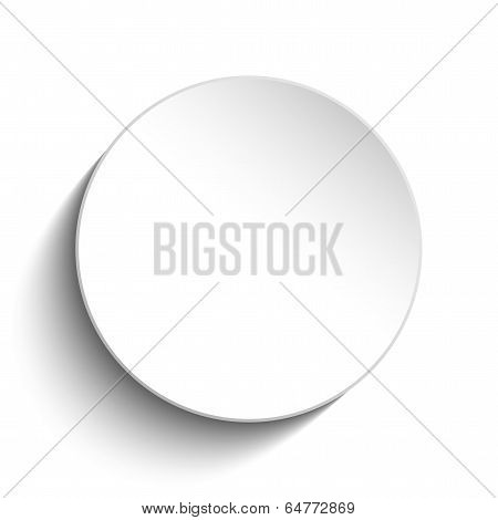 White Circle Button On White Background