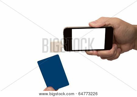 Mobile Phone With Credit Card Reader Isolated