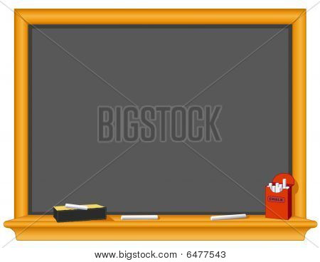 Blackboard, Eraser, Chalk. Box