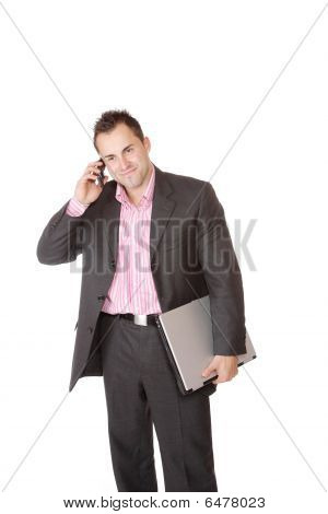 happy Businessman holding Laptop-computer