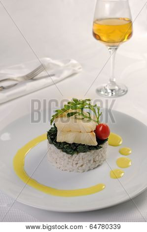 Flounder Fillets With Risotto And Spinach
