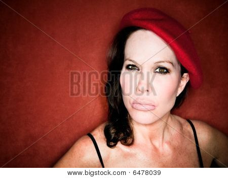 Pretty Woman In A Red Beret