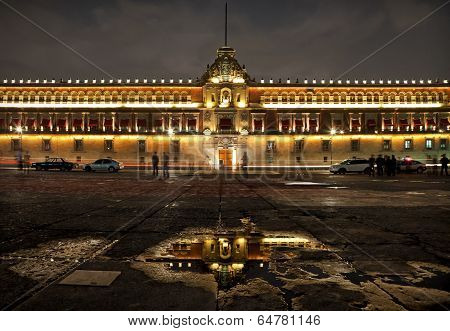 National Palace In Plaza De La Constitucion Of Mexico City At Night
