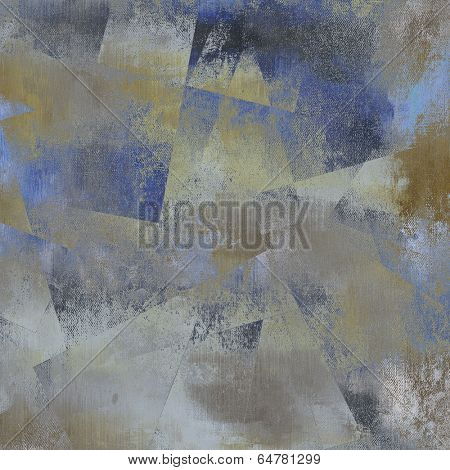 art abstract monochrome acrylic and pencil fabric textured background in blue, grey, beige and black colors, with geometric pattern