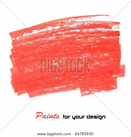 Red vector abstract hand painted