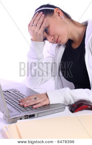 Stressed Teenager With A Laptop