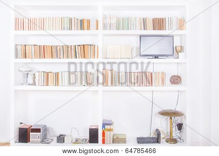 White Living Room With Modern Wooden Bookshelf