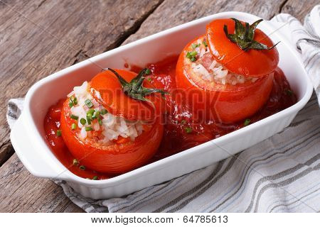 Baked Tomatoes Stuffed With Rice, Vegetables, Top View