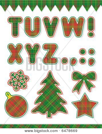 Christmas ABC set, part 2, letters T - Z and design elements