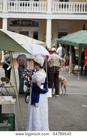 Lady in period costume participating in the War of 1812 Commemoration in Warrenton, Virginia.