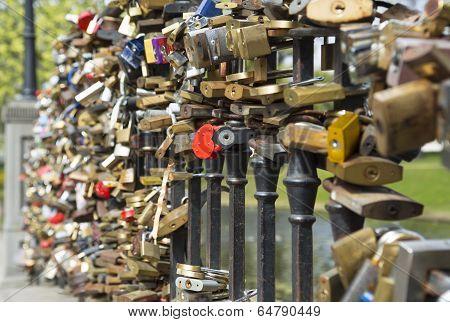 padlocks on bridge of lovers