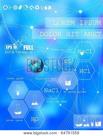 Vector web and mobile interface info graphic template. Flat corporate website design. Minimalistic multifunctional media background. Editable. Options, Icon, Banner. Chemistry and science concept.