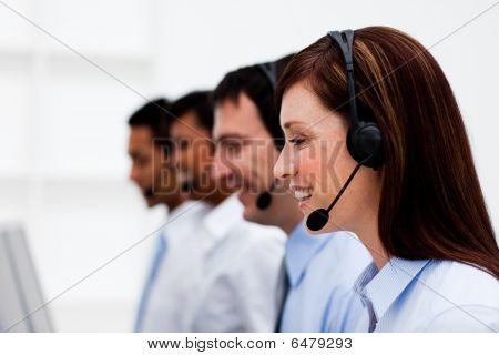 Multi-ethnic Customer Service Agents With Headset On