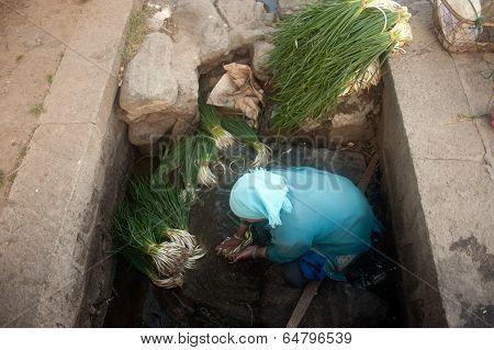 Woman Wash Vegetables In Canal.