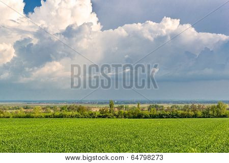Storm Clouds Over Fields