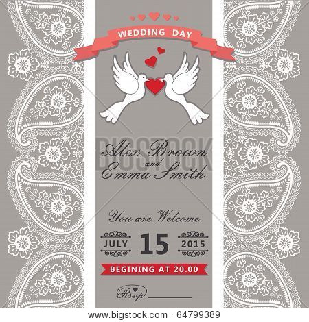 Cute Wedding Invitation.paisley Border Lace,cartoon Pigeons.vintage