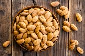 picture of fruit bowl  - Almond kernels in a bowl on a wooden table - JPG