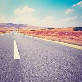 stock photo of samaria  - Asphalt Road in Sand Hills of Samaria Photo Filter - JPG