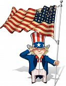 stock photo of uncle  - Vector Cartoon Illustration of Uncle Sam saluting and holding a 48 star American flag - JPG