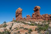 stock photo of garden eden  - the landscape in the garden of eden arches national park utah - JPG