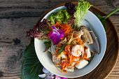 picture of green papaya salad  - Traditional dish of freshly prepared Thai food - JPG