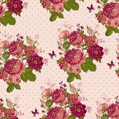 pic of rose  - Beautiful Vintage Seamless Roses Background with Butterflies - JPG