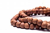 stock photo of prayer beads  - Ancient beads made from wood to use in prayer - JPG