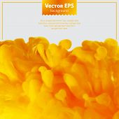 stock photo of pigment  - Yellow and orange ink cloud in water abstract background - JPG
