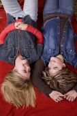 Girls On Blanket Top View Smiling