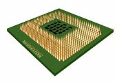 picture of microprocessor  - green microprocessor isolated on a white background - JPG