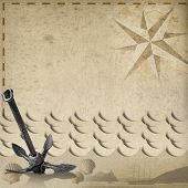 picture of rusty-spotted  - Old yellowed paper with spots compass rose three seashells sailing ship stylized waves and old rusty anchor concept of adventurous travels - JPG