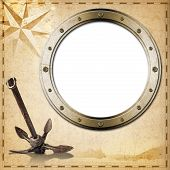 pic of rusty-spotted  - Old yellowed paper with spots compass rose empty metal porthole sailing ship and old rusty anchor concept of adventurous travels - JPG