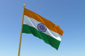 picture of ashok  - The national flag of India waving in the wind - JPG