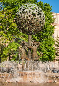 stock photo of adam eve  - Fountain with sculptures depicting Adam and Eve in Moscow - JPG