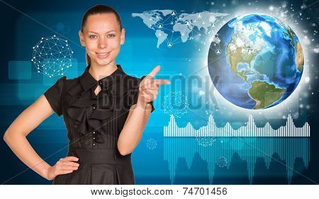 Woman pointing finger at camera. Network with people icons, Earth and graphs