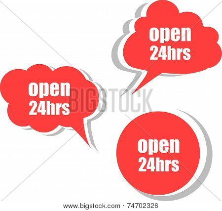 Open 24 Hours Word On Modern Banner Design Template. Set Of Stickers, Labels, Tags, Clouds