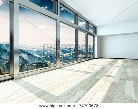 3D Rendering of Overlooking Outside View from Large Windows on Metal Frames in Architectural Interior Design.
