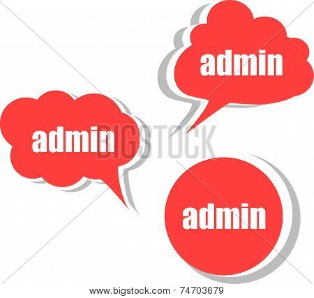 Admin Words On Modern Banner Design Template. Set Of Stickers, Labels, Tags, Clouds