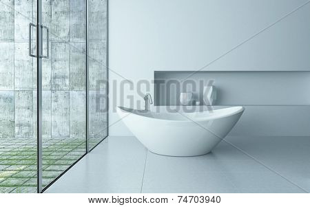 3D Rendering of Freestanding bathtub in a modern white bathroom interior