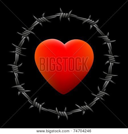 Barbed Wire Heart Black