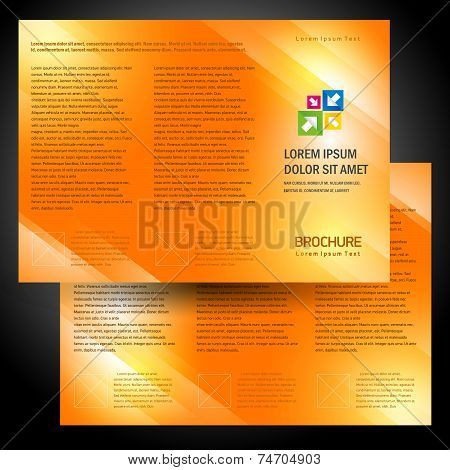 brochure folder colorful design vector orange