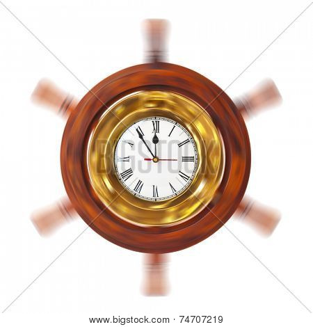 Clock in turning helm isolated on white background