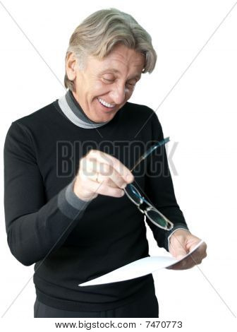 Man Pointing Important Papers Isolated