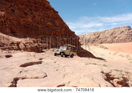 Safari Vehicle In Wadi Rum Desert, Jordan