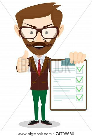 Hipster Holding a Paper With Green Flags, Vector